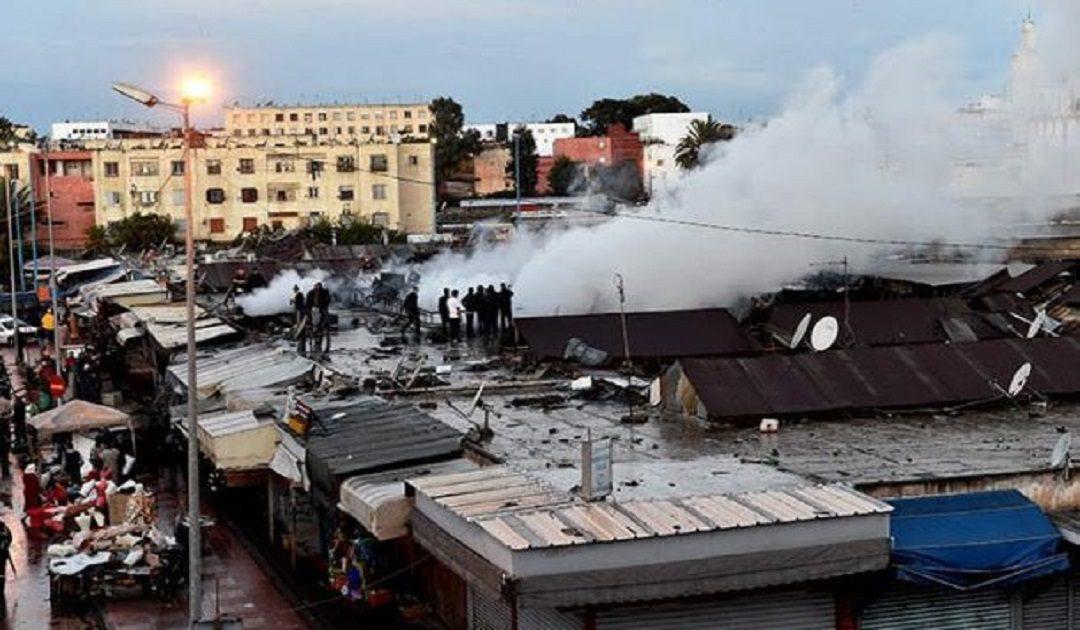 هذا هو سبب نشوب الحريق المهول بقيسارية بالدار البيضاء (+فيديو)