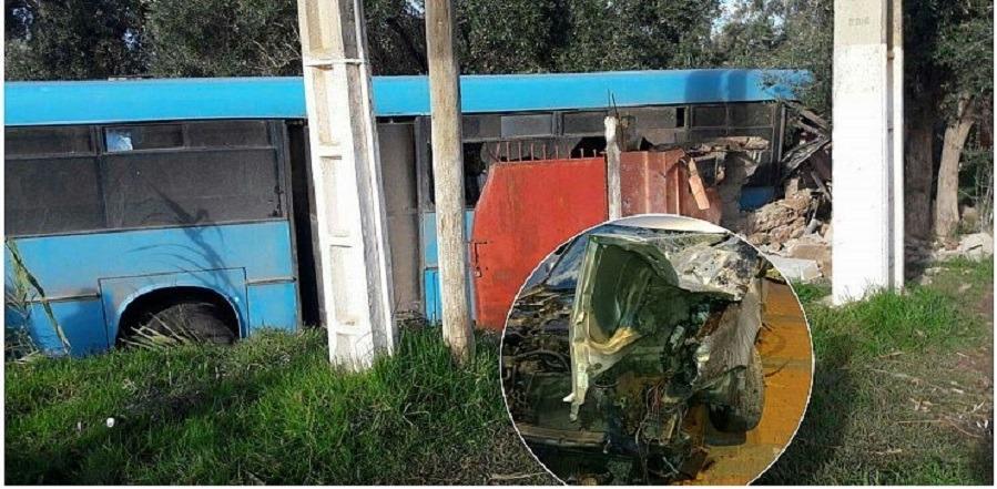 """حادثة خطيرة بين """"طوبيس"""" وسيارة خفيفة ببني ملال (+صور)"""