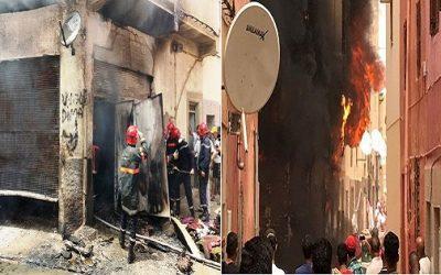 حريق مهول يشب بمحل لإصلاح الأفرشة بخريبكة +صور