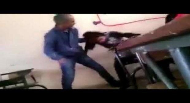 السلطات تعتقل الأستاذ الذي ظهر في فيديو وهو يعنف تلميذة داخل القسم