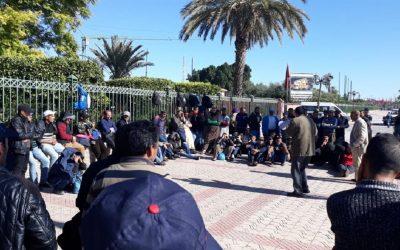 انفراد :عمال منجم ايت حدو يوسف سكساوة يعتصمون أمام ولاية مراكش+صور