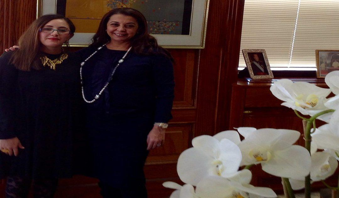 السفيرة كريمة بنيعيش تستقبل بمدريد ممثلة وكالة أخبار المرأة بأوروبا