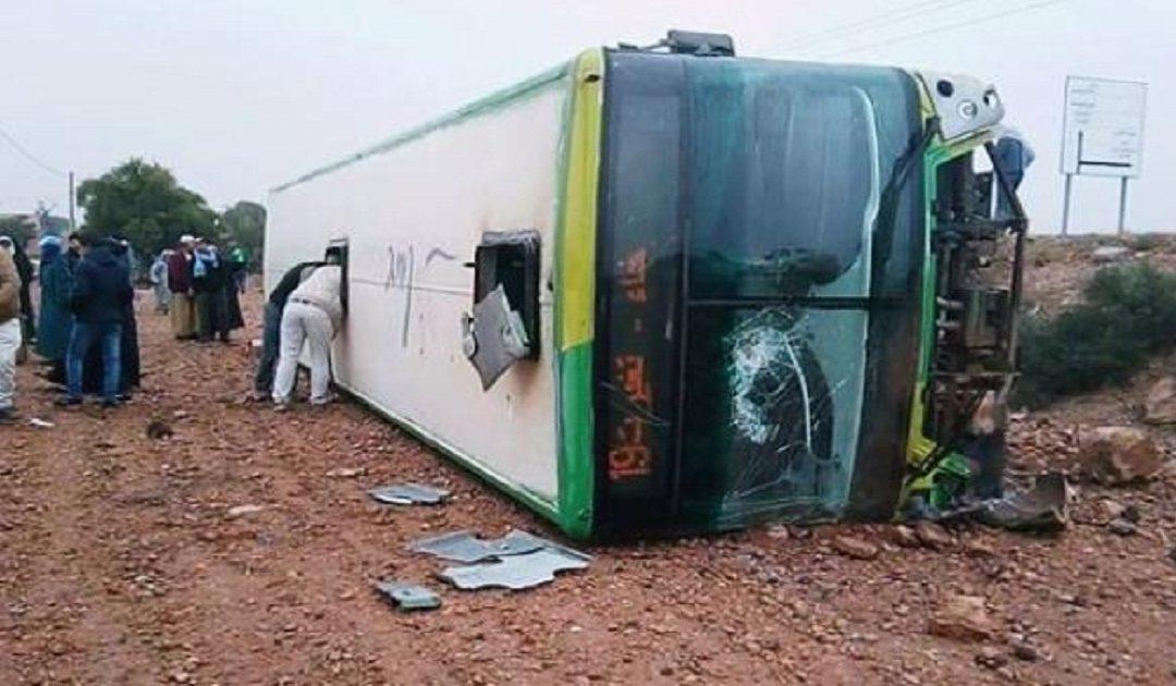 انقلاب حافلة للنقل العمومي بالمحمدية