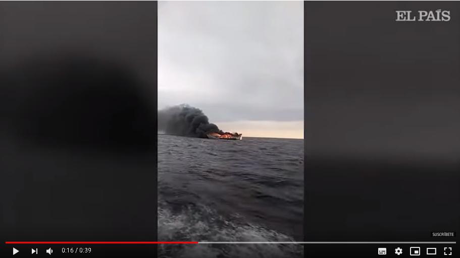 حريق ينهي حياة بحار مغربي في بحر جيرونا +فيديو