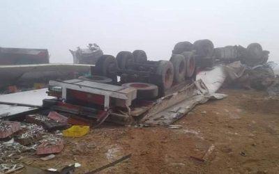 مصرع شخصان واصابة ثلاثة اشخاص في حادثة سير شمال الداخلة