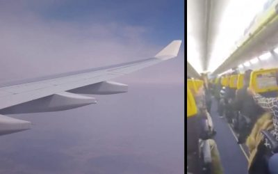 بالفيديو شاهد أقوى لحظات الرعب التي عاشها ركاب طائرة بسبب المطبات الهوائية