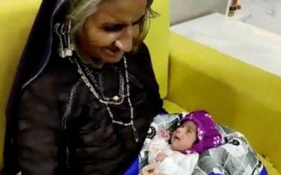 عجوز في السبعين من عمرها تنجب طفلها الأول بعد معاناة دامت لعقود من الزمن